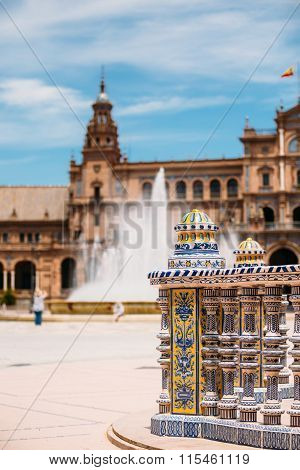 Detail of famous landmark - Plaza de Espana in Seville, Andalusi