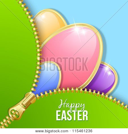 Glossy Easter eggs with zipper on blue background