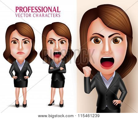 usiness Woman Vector Character Angry and Mad Like a Boss
