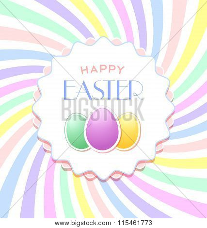 Happy Easter document template with three eggs and badge on colorful background