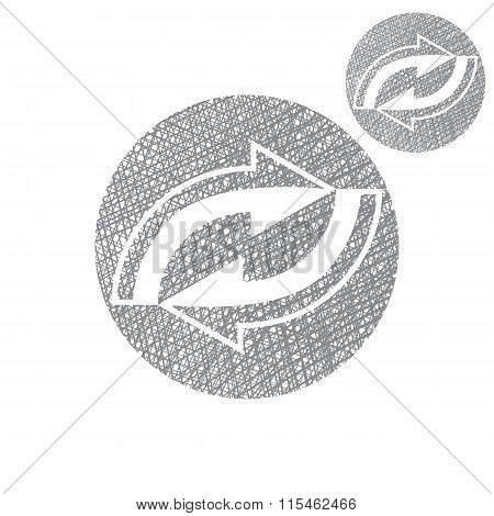 Reload Refresh Arrows Loop Vector Simple Single Color Icon Isolated On White Background, Sketch