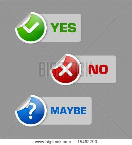 Yes no maybe stickers with semi transparent banners isolated on grey background