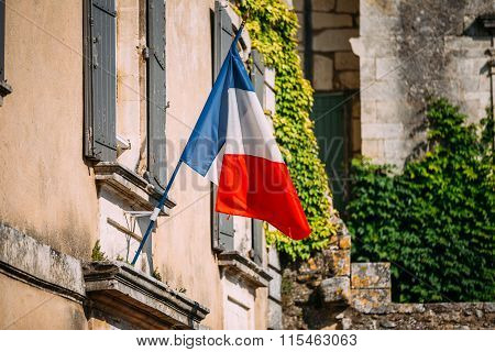 French Tricolours National Flag Decorate Old Building In France