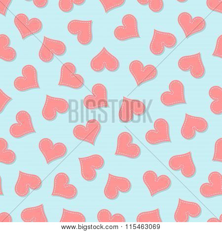 Valentine's heart repeating seamless pattern in stitched retro style