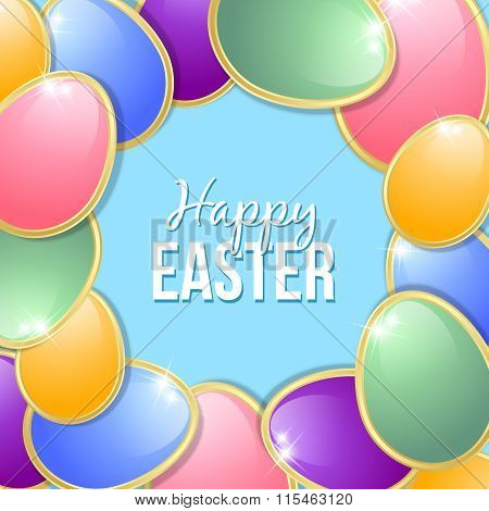 Colorful Easter eggs on light blue background