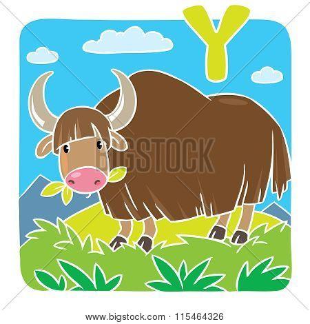 Funny wild yak. Alphabeth Y