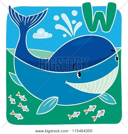 Children illustration of little whale. Alphabeth U