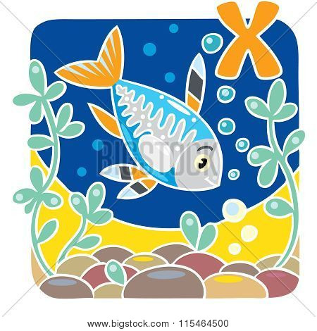 Children illustration of x-ray fish. Alphabet X