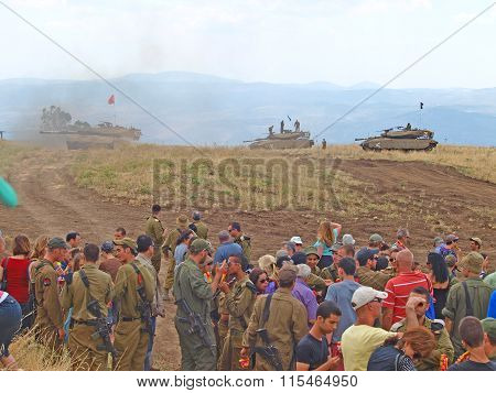 Merkava Tanks And Israeli Soldiers In Training Armored Forces