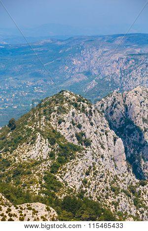 Beautiful landscape of the Gorges Du Verdon in France. Vertical