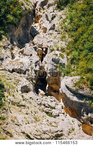 Blurred ancient river rocks in the Verdon Gorge in France.