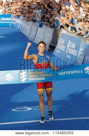Triathlete Javier Gomez Clench A Fist When Winning The Triathlon Competition