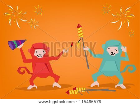 Two Monkeys Lights Up a Fireworks Rocket to Celebrate a Holiday. Editable Clip Art.  Editable Clip A