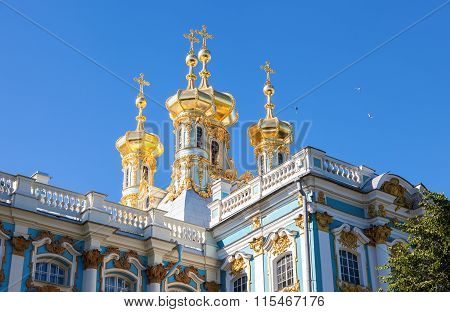 Golden Domes Of The Church In The Catherine Palace. Tsarskoye Selo, Russia