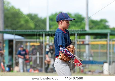 Youth baseball player during the game