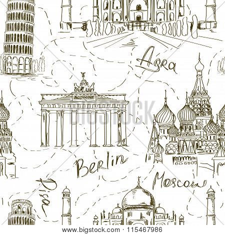 Seamless Pattern Of Famous Landmarks