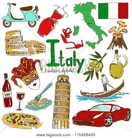 Collection Of Italy Icons.