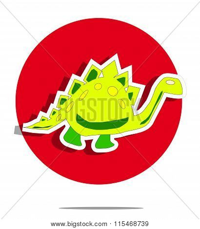 Illustration Of A Dinosaur With Red Circle Background