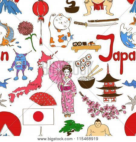 Sketch Japan Seamless Pattern.