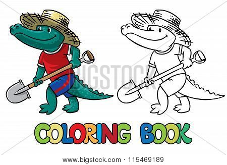 Crocodile-farmer. Coloring book