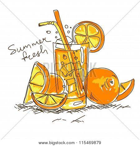 Cartoon Cocktail With Orange.