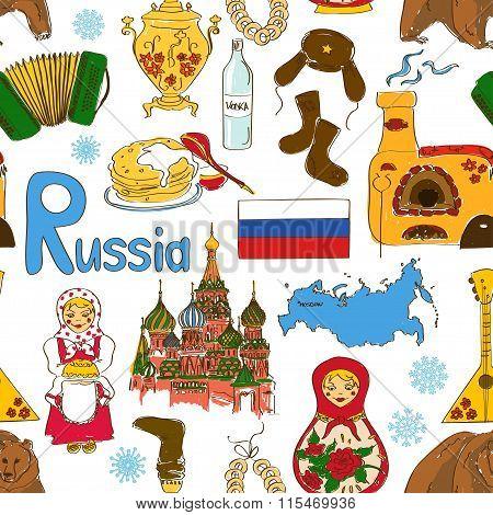 Sketch Russian Seamless Pattern.