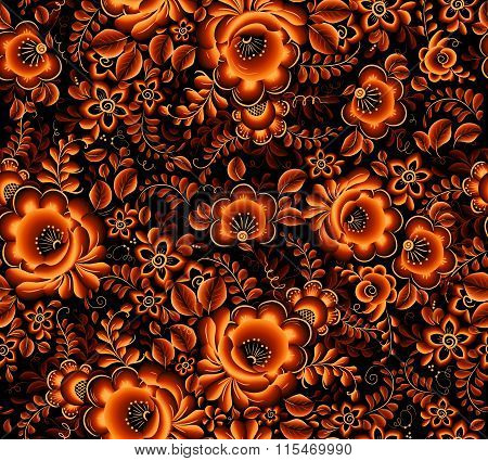 Orange floral seamless pattern on black background in Russian tradition hohloma style