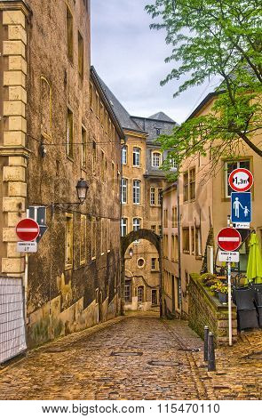 Narrow medieval street in Luxembourg, Benelux, HDR