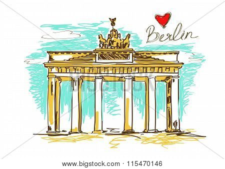 Illustration Of Brandenburg Gate In Berlin