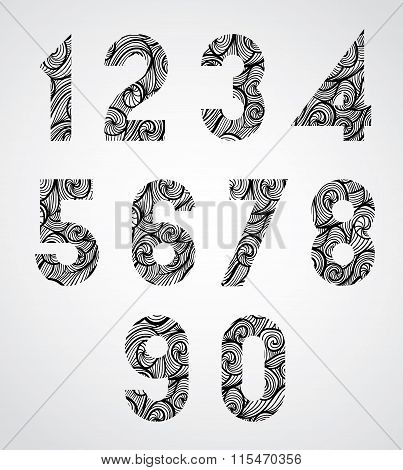 Old Style Numbers With Hand Drawn Curly Lines Pattern.