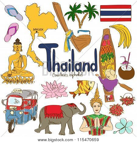 Collection Of Thailand Icons.
