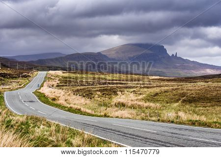 Highland road leading past Old Man of Storr
