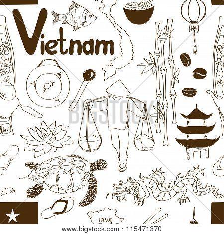 Sketch Vietnam Seamless Pattern.