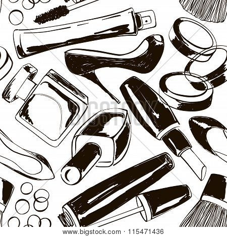 Seamless Pattern Of Women's Cosmetics And Shoes