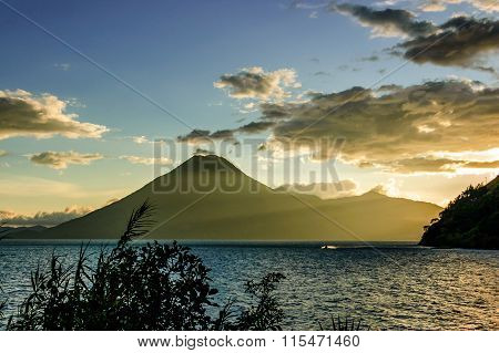 Sunset Over San Pedro Volcano, Lake Atitlan, Guatemala