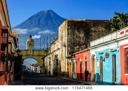 Famous Arch And Volcano View, Antigua, Guatemala