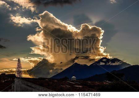 Double Volcano View At Sunset, Antigua, Guatemala