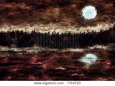 Impressionist Moonlit River Painting