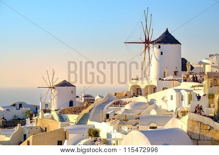 Oia Santorini - 31 August, 2015: Scenic View Of Oia Village Houses And Windmills