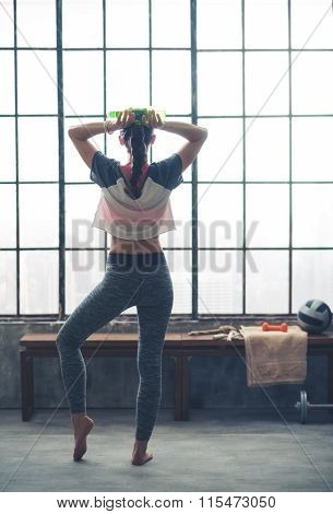 Rear View Of Woman Standing Looking Out Loft Gym Window