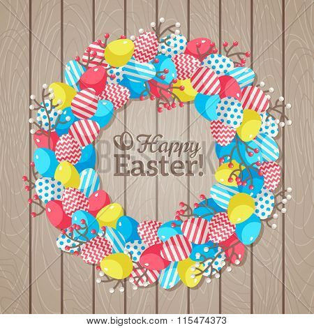 Easter eggs wreath on Wooden Bright Background