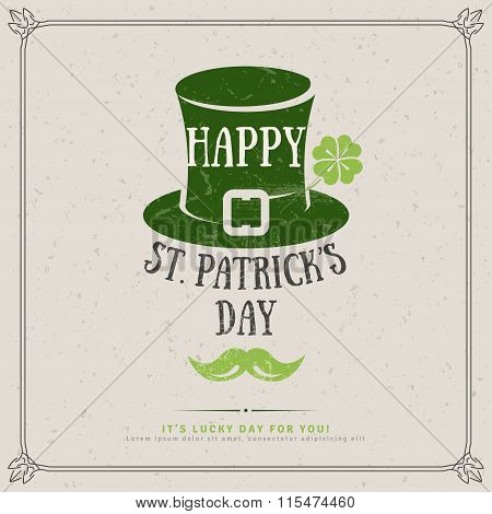 Party Invitation Design with Irish Hat Emblem