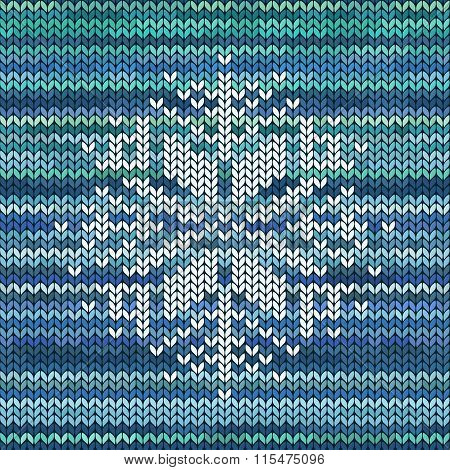 Knitted Seamless Pattern With Snowflake.