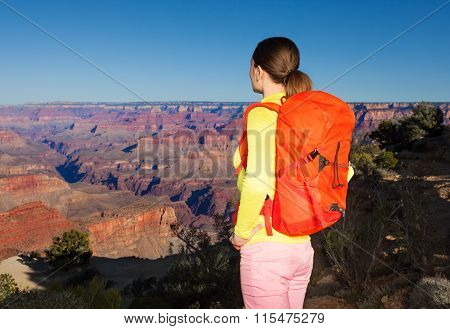 Yong woman hiker in Grand canyon
