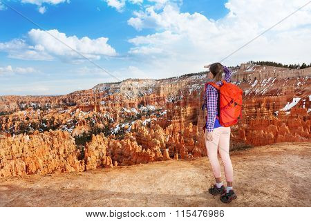 Hiker young woman in Bryce canyon