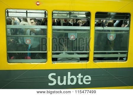 Crowded Buenos Aires Subway
