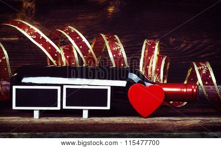 Bottle Wine, Blackboards, Heart And Ribbon.