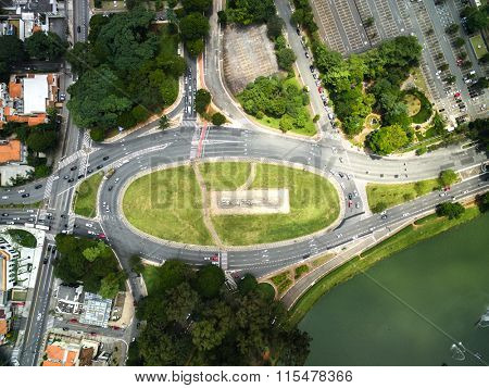 Top View of Bandeiras Monument in Ibirapuera Park, Sao Paulo, Brazil