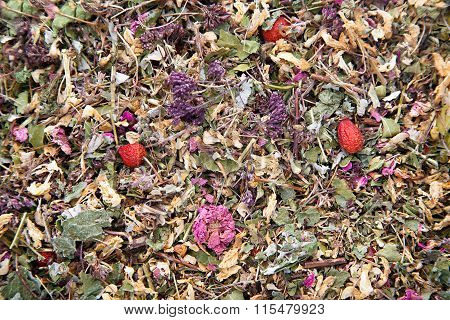 Herbal tea with flowers of rose and briar