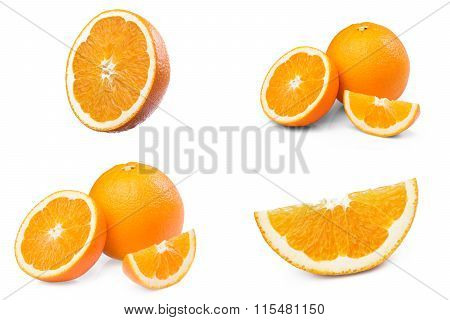 set, Fresh Ripe Orange fruit half slice isolated on white background